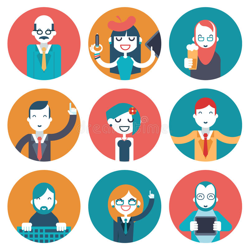 Male and Female Avatars Businessman Director Businesswoman Designer Programmer Geek Hipster character concept icons set. Set of business creative avatars vector illustration
