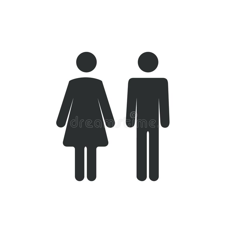 Free Male Female Bathroom Icon. Restroom Boy Or Girl Lady Sign Symbol. Toilet Wc Vector Concept Royalty Free Stock Images - 129779649