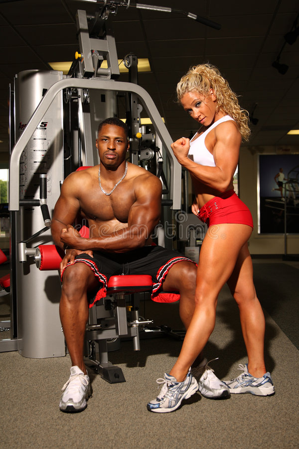 Male and Female bodybuilders stock images