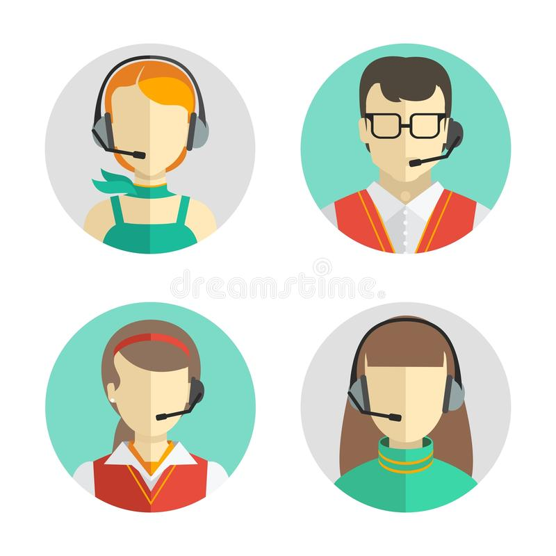 Male and female call center avatars in a flat style with a headset, conceptual of communication. Vector icons set royalty free illustration
