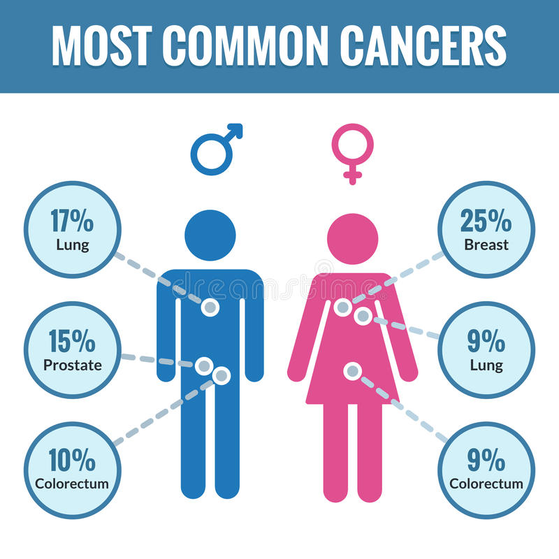 Male and female cancer infographics vector illustration