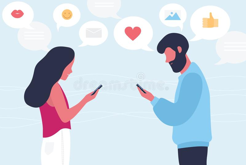 Male and female cartoon characters chatting or texting on their smartphones. Young romantic couple sending messages to royalty free illustration