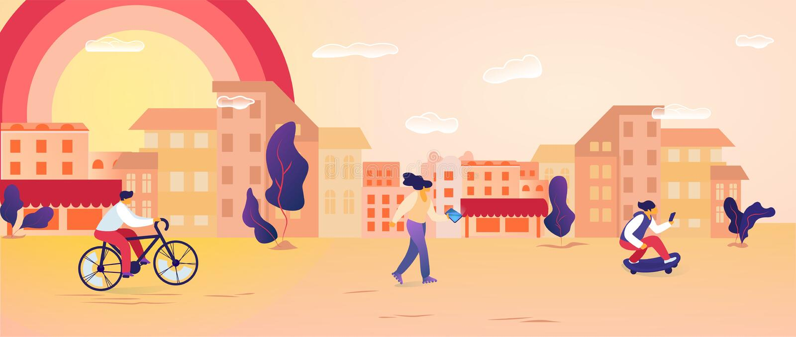 Male and Female Characters Spend Time Outdoors. Riding Bicycle, Skateboarding, Using Gadgets. People Characters Walking in Modern City at Summertime. Urban royalty free illustration
