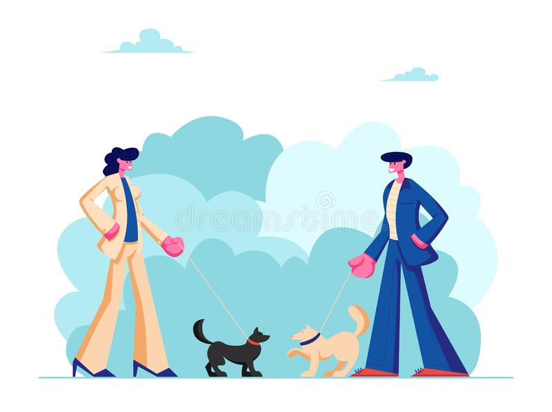 Male and Female Characters Walking with Dogs in Public City Park. People Spending Time with Pets Outdoors on Summer Time. Relax. Leisure, Communication with stock illustration