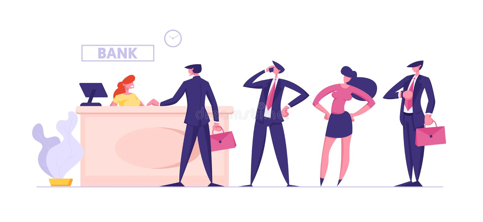 Male and Female Clients Stand in Queue in Bank Waiting Manager or Analyst of Credit Department Appointment royalty free illustration