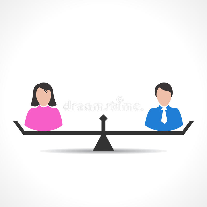 Male and female comparison or equality concept royalty free illustration