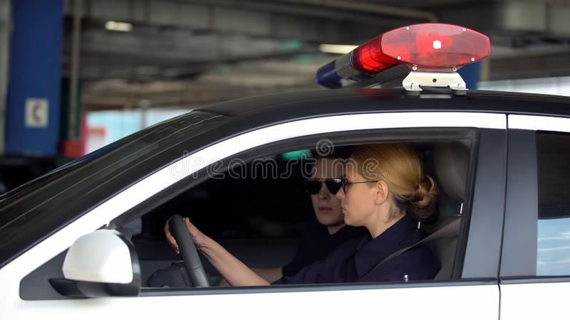 Male and female cop driving police car to crime scene, patrolling law in city stock images