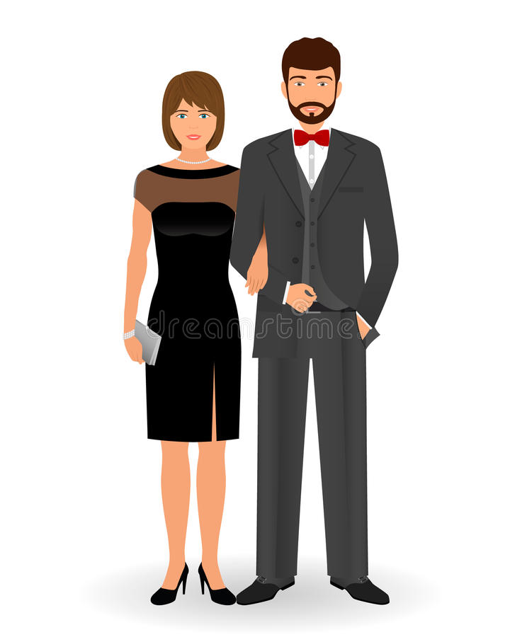 Male And Female Couple In Elegant Clothes For Official Social Events