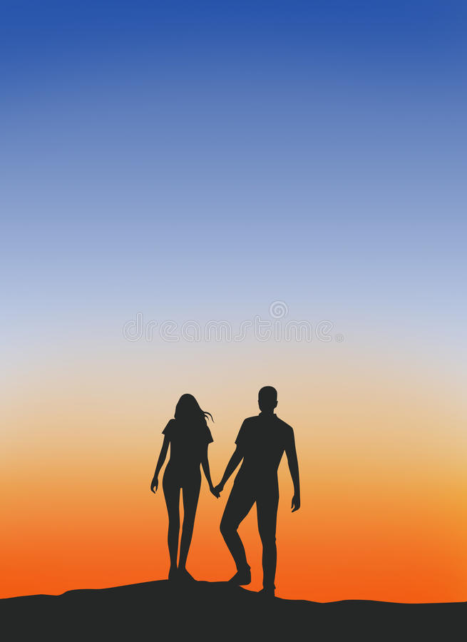 Male and female couples silhouette . royalty free stock photography