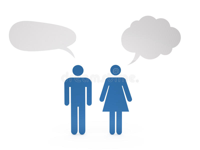 Male and Female Discussing stock illustration