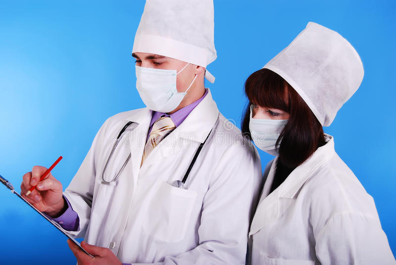 Male and female doctor. stock photo