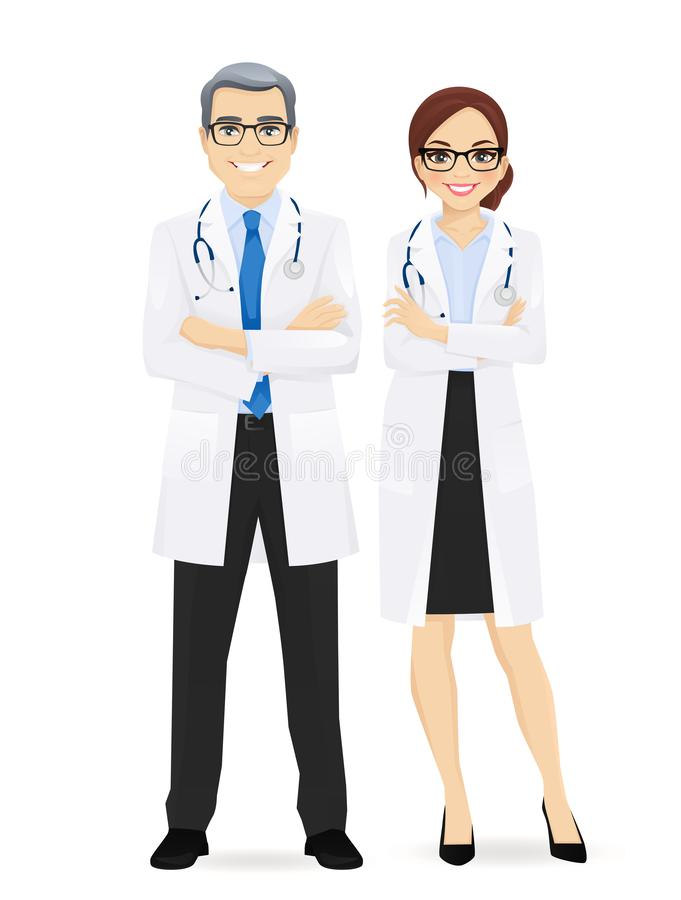 Male and female doctor royalty free illustration