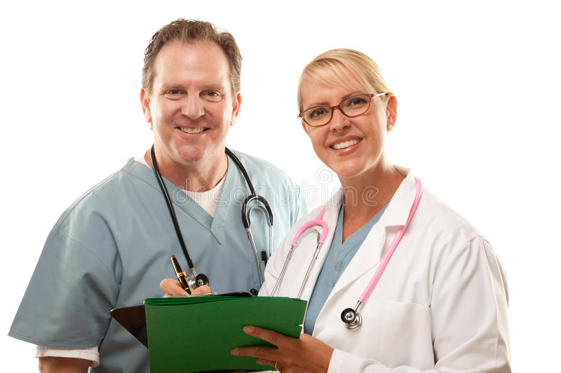 Download Male And Female Doctors Looking Over Files Stock Image - Image: 9885453