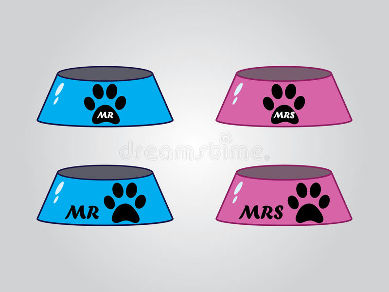 Male and female dog bowls, vector