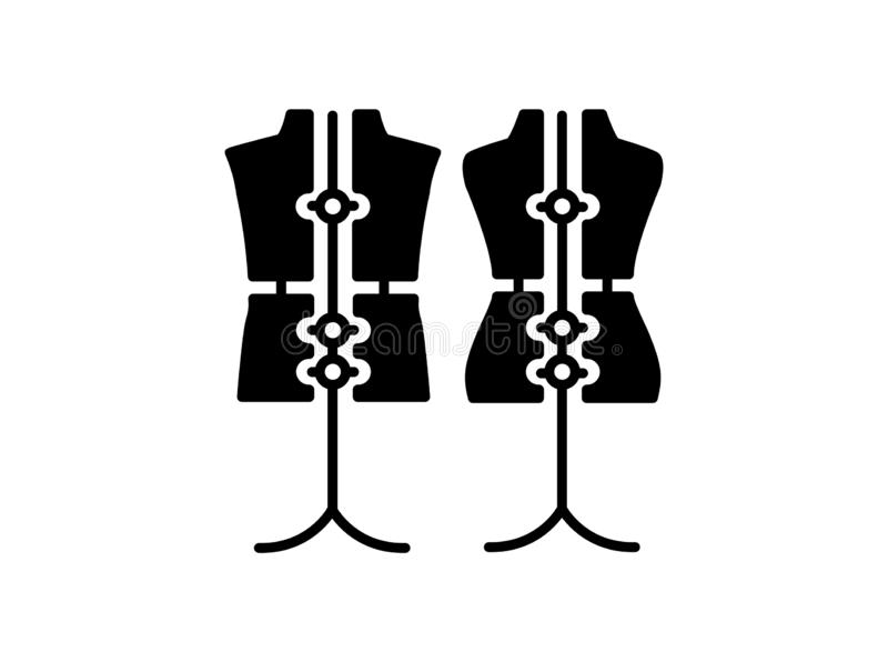 Male & female dressmaking adjustable mannequin with base stand. Sign of tailor dummy. Display body, torso. Professional dress form. Flat icon. Black & white royalty free illustration
