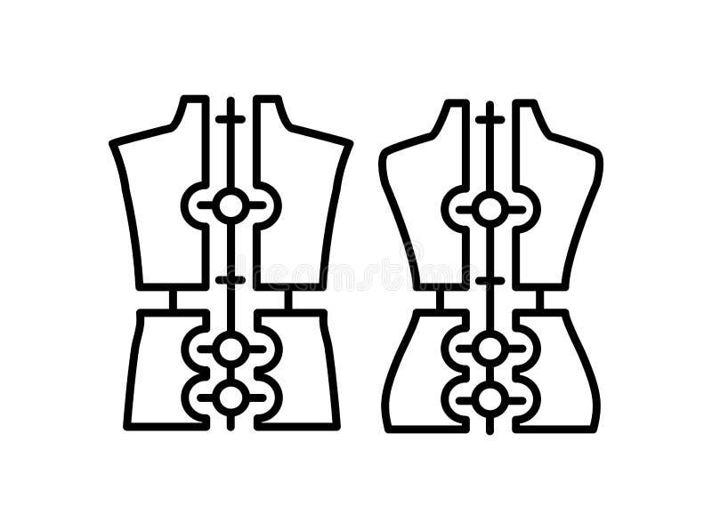 Male & female dressmaking adjustable mannequin. Sign of tailor dummy. Display body, torso. Professional dress form. Line icon. Black & white vector stock illustration