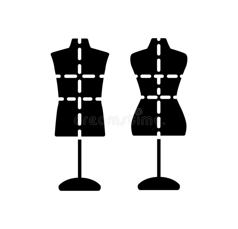 Male & female dressmaking mannequin with base stand & markings. Sign of tailor dummy. Display model, body. Professional dress form vector illustration