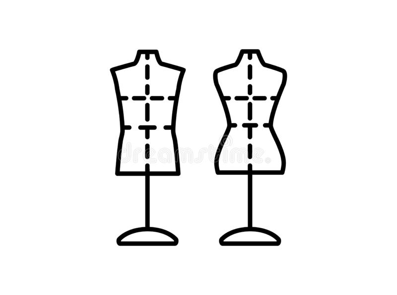 Male & female dressmaking mannequin with base stand & sewing markings. Sign of tailor dummy. Display model, body. Professional. Dress form. Line icon. Black & royalty free illustration