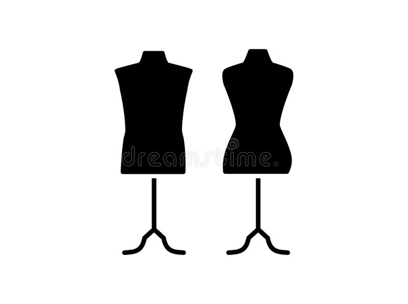 Male & female dressmaking mannequin with base stand. Sign of tailor dummy. Display model, body. Professional dress form. Flat icon. Black & white vector vector illustration