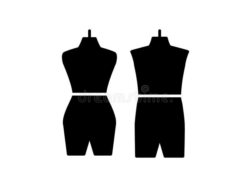 Male & female dressmaking mannequin. Sign of tailor dummy. Display body, torso. Professional dress form. Flat icon. Vector. Male & female dressmaking mannequin stock illustration