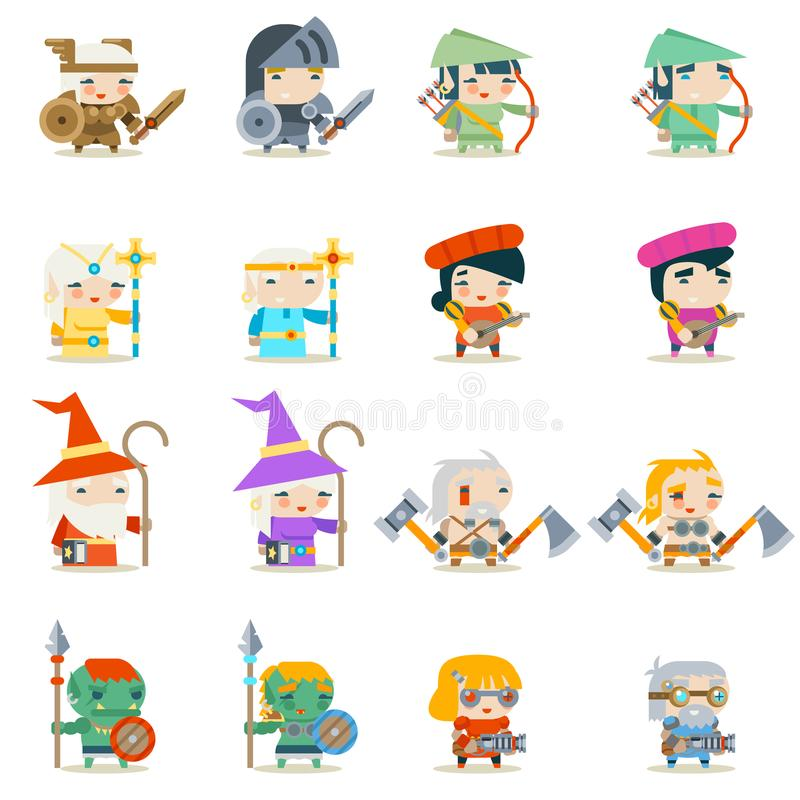 Male Female Fantasy RPG Game Character Vector Icons Set Vector Illustration. Male Female Fantasy RPG Game Vector Character Icons Set Vector Illustration royalty free illustration