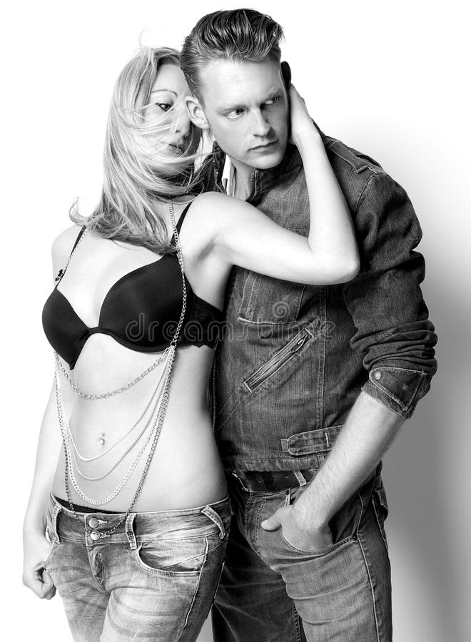 Male and female fashion model in sensual pose royalty free stock photography