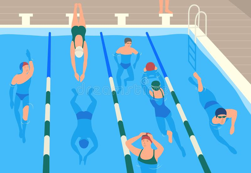 Male and female flat cartoon characters wearing caps, goggles and swimwear jumping and swimming or divining in pool. Men. And women performing sports activity vector illustration