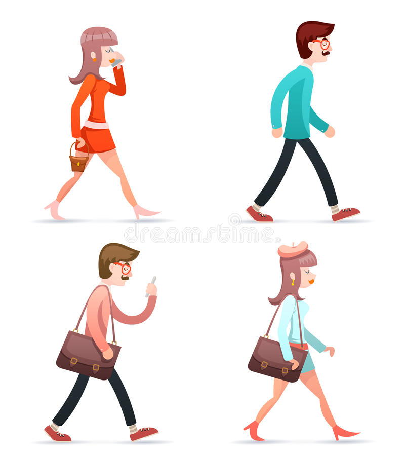 Male Female Geek Hipster Girl Man Vintage Woman Character Walk Mobile Phone Bag Case Icons Set Isolated Retro Cartoon. Male Female Hipster Geek Girl Man Vintage royalty free illustration