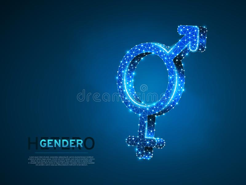Male and female gender symbols. Wireframe digital 3d. Low poly heterosexuality Abstract Vector polygonal neon LGBT vector illustration