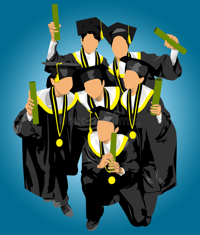 Download Male And Female Graduate At Commencement Stock Illustration - Image: 7949674