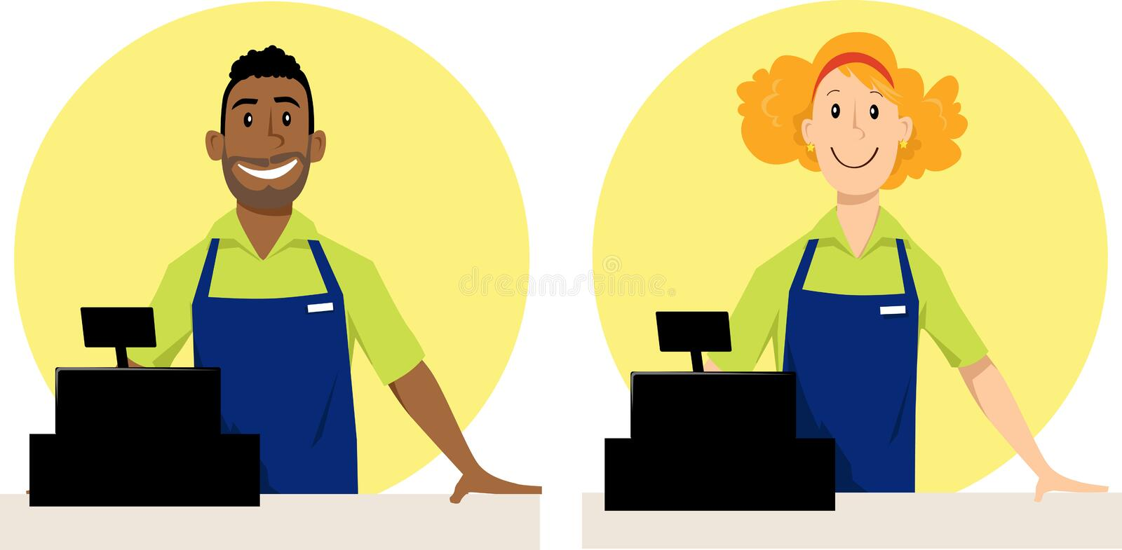 Cashier Cartoons: Grocery Store Cashiers Stock Vector. Illustration Of