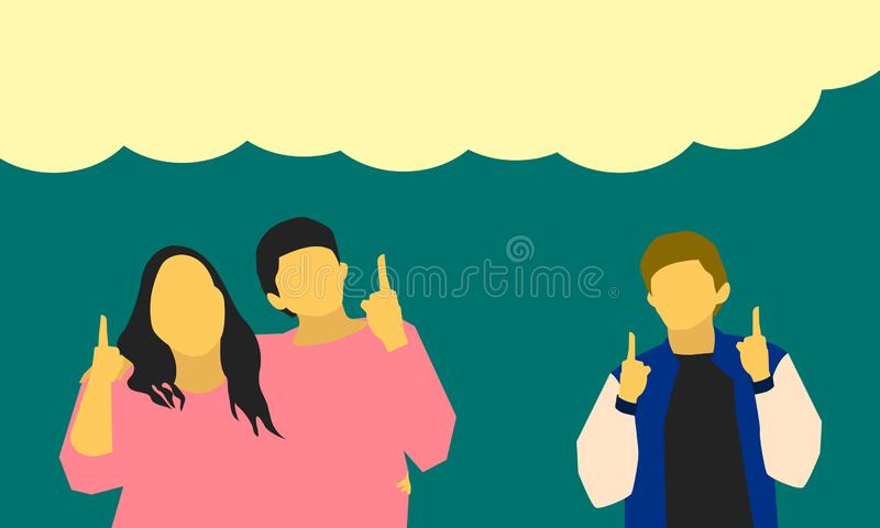 Male female hand up pointing to board product item message for business marketing concept. vector illustration eps10 vector illustration