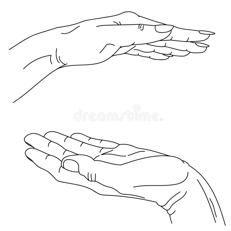 Male and female hand vector lineart graphics, hand-drawn. symbolic image of care and protection, love. concept art to illustrate stock illustration