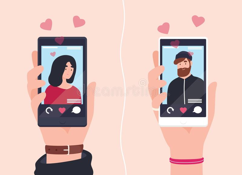 Male and female hands holding smartphones with portraits of man and woman on screens. Social mobile application for stock illustration