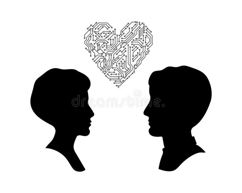 Male and female head profile silhouettes with printed circuit board heart, digital love concept, vector stock illustration
