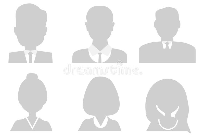 Male and female head silhouettes. Profile of a person, photo. stock illustration
