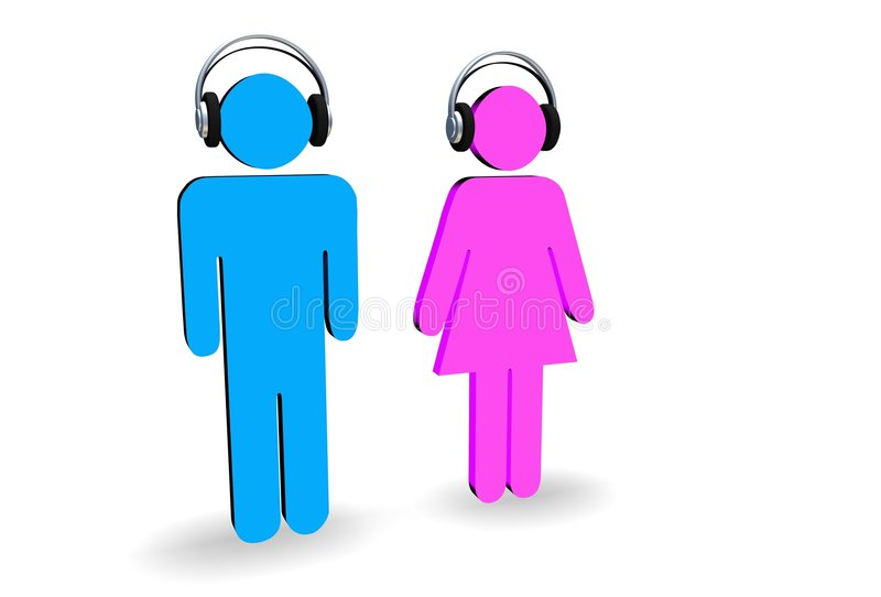Male and female with headphones vector illustration