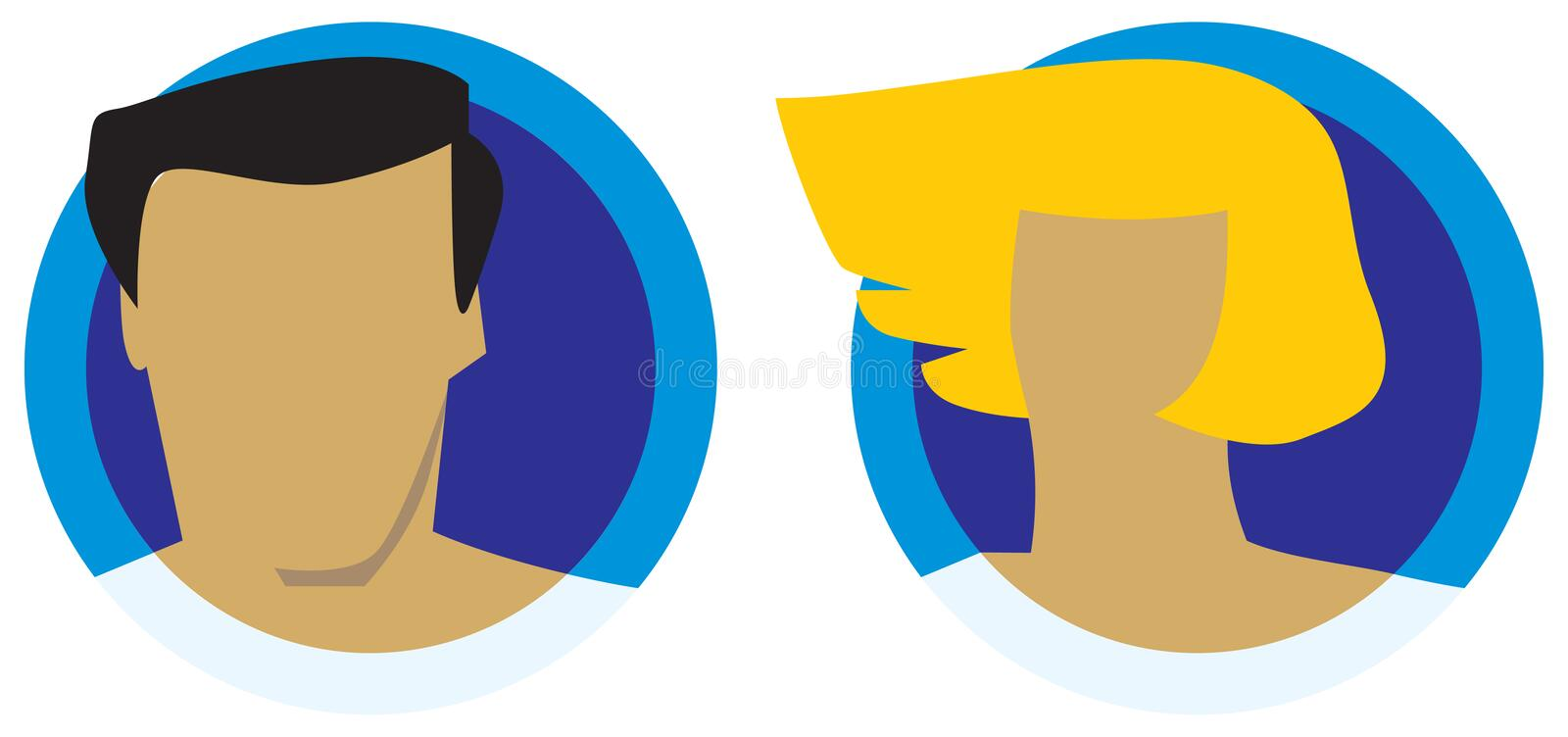 Download Male And Female Heads Icons Stock Images - Image: 7598134