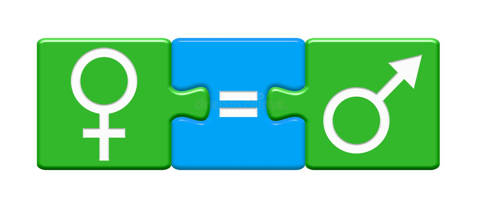Male and female icon on Puzzle Button - Gender Equality. Puzzle Buttons showing Female equal Male stock illustration