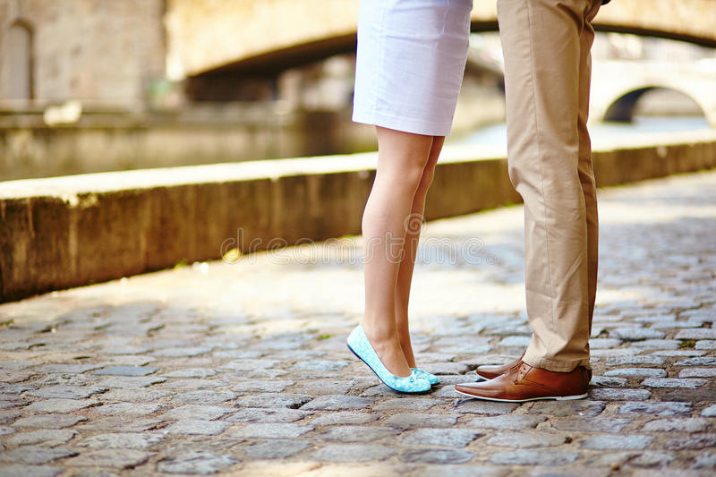 Male and female legs during a date royalty free stock photo