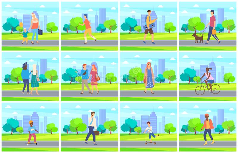 People in Park, Leisure of Man and Woman Vector. Male and female leisure outdoor, man and woman walking in city park near trees, children activity on skateboard royalty free illustration