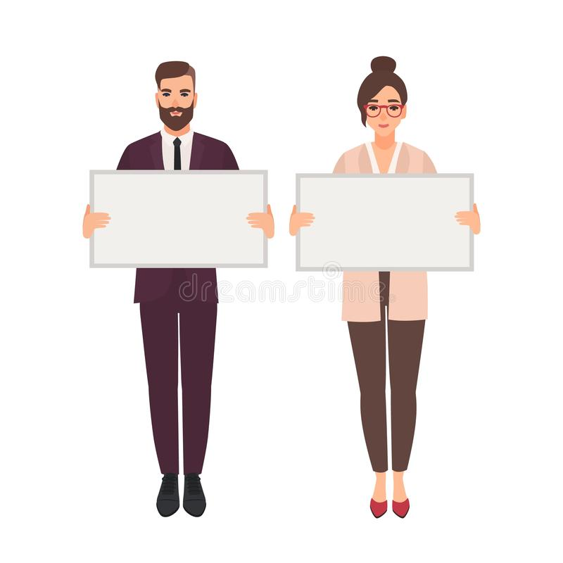 Male and female managers, clerks or office workers holding clean white boards or banners. Cute smiling man and woman stock illustration