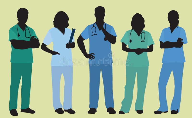 Male and Female Nurses or Surgeons. Five Nurses, Doctors or Surgeons Wearing Scrubs in Colored Silhouette stock illustration