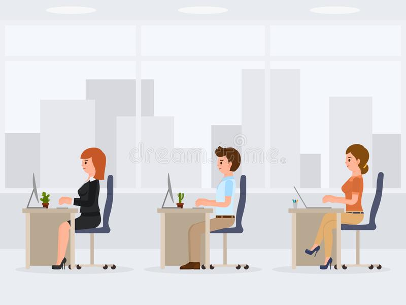 Male and female office workers at the desk. Young working clerks cartoon character. stock illustration