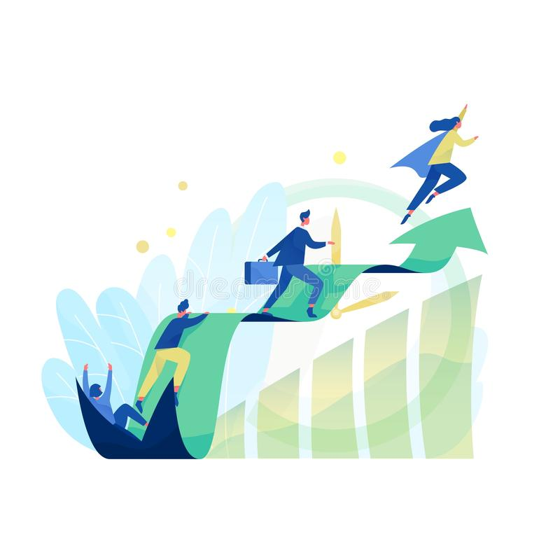 Male and female office workers, managers or clerks climbing on ascending chart. Business goal achievement, career ladder. Progress and advancement, professional stock illustration