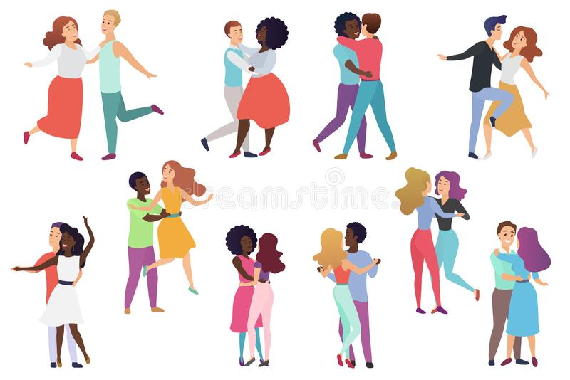 Male and female pairs of dancers. Men and women couple, Group of happy dancing people. People dance party vector stock illustration