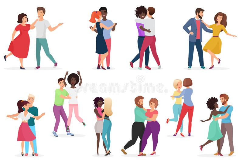 Male and female pairs of dancers. Men and women couple performing dance at school, studio. Group of young happy dancing royalty free illustration