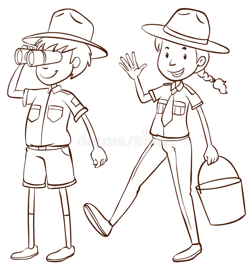 Male and female park rangers royalty free illustration