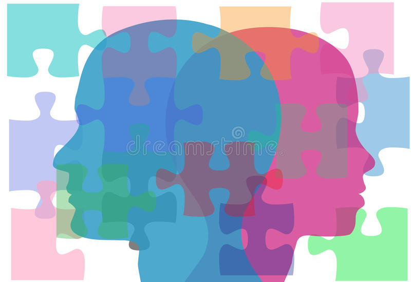Male Female people problems couple puzzle solution. Couple man and woman face puzzling interpersonal problems need counseling vector illustration