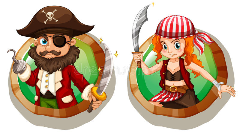 Male and female pirates on badges. Illustration vector illustration